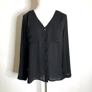 H&M Black Button Up Chiffon Blouse Size 6